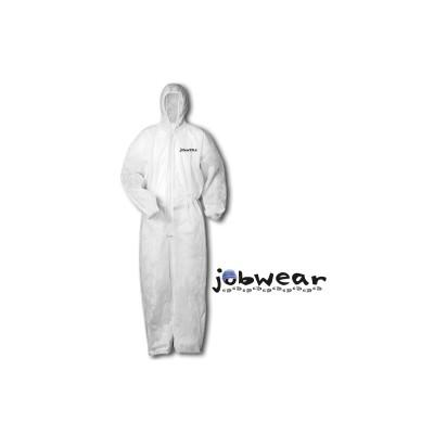 Buzo desechable de color blanco, con capucha y cremallera