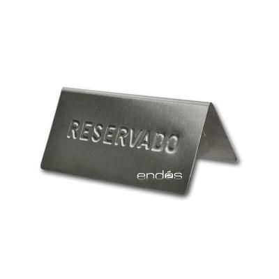 """Placa con """"reservado"""" grabado y fabricada en acero inoxidable"""