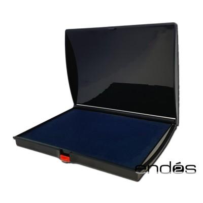 Tampón almohadilla con tinta de color azul para sello en caja de plástico