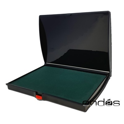 Tampón almohadilla con tinta de color negro para sello en caja de plástico