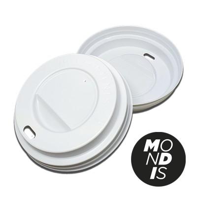 Tapa de color blanco para vaso de carton para bedidas calientes 8 oz VCA002Caja con 10 paquetes de 100 tapas