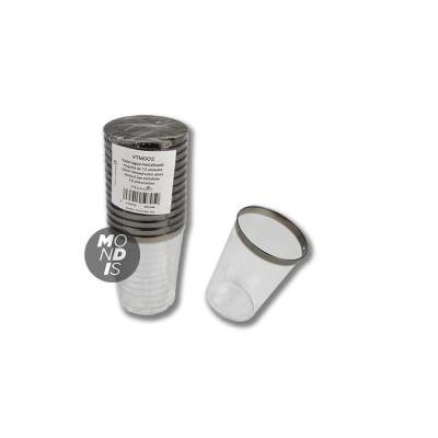 Vaso de agua de plástico rígido con borde superior en color metalizado