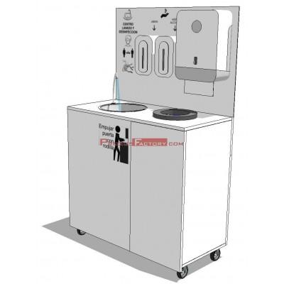 Centro de lavado y desinfección de manos portátil y autónomo