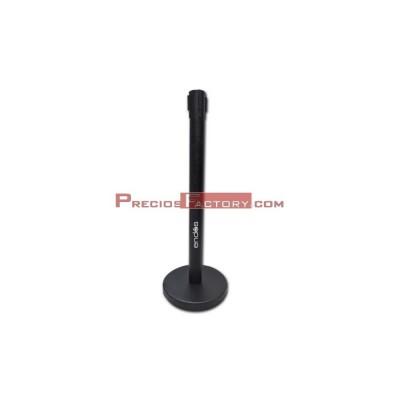 Poste con cintra retractil de color negro, se utiliza para gestión de colas, filas y guiado peatonal