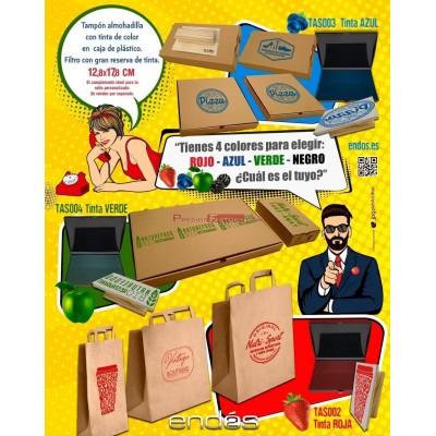 Tampón almohadilla con tinta de color rojo para sello en caja de plástico