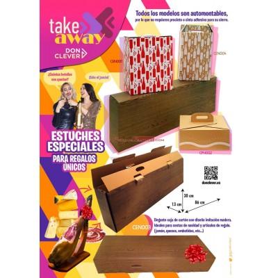Caja para picnic y menú, de cartón marrón kraft, de fácil montaje