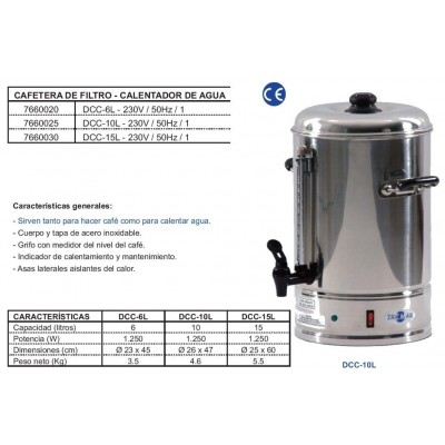 DISPENSADOR DE CAFE CALIENTE DCC-15L
