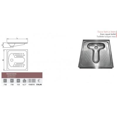 Taza turca acero inox. 750x750x133 mm.