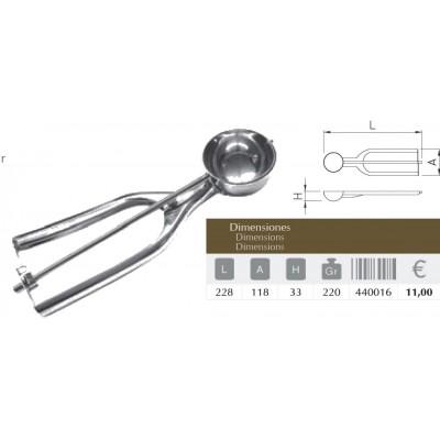 Cuchara porcionadora para helados inox 228x118x33