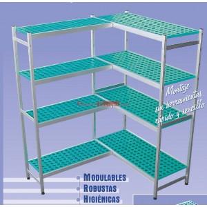 Estantería de alumínio y polipropileno. Fondo 40 cm