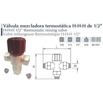 VALVULA MEZCLADORA TERMOSTATICA H-H-H DE 1/2.