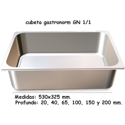 CUBETA GN 1/1 INOXIDABLE 201