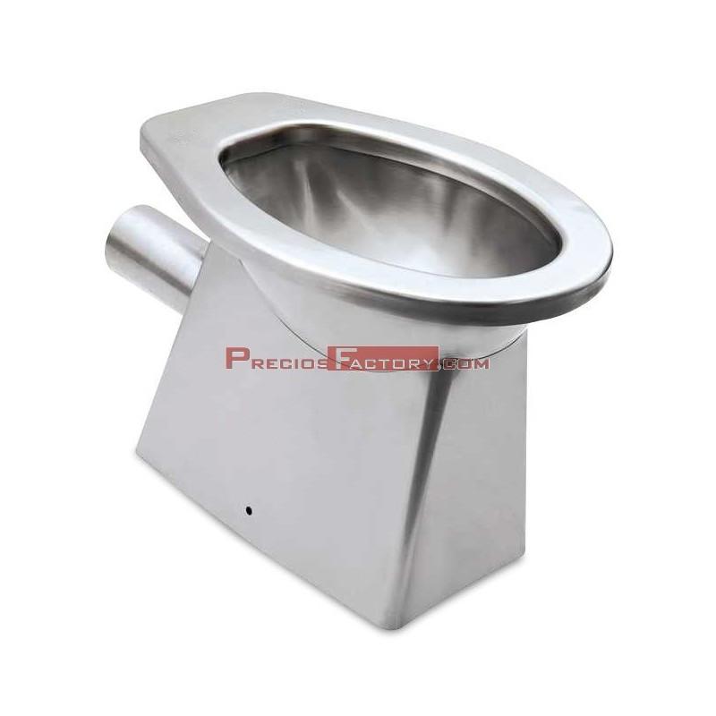 Wc acero inox 366x521x390 mm salida horizontal for Instalar wc salida horizontal