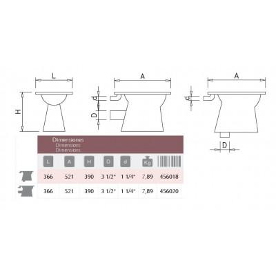 WC acero inox. 366x521x390 mm. Salida horizontal