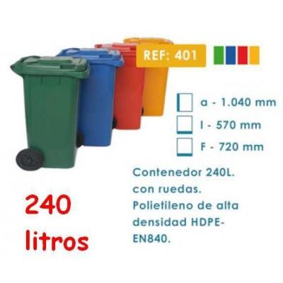 Contenedor desperdicios con tapa y ruedas 240 litros
